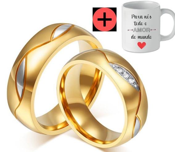Alianças Casamento.compromisso Noivado Banhadas + Brinde