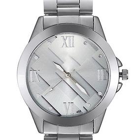 Relógio De Pulso Visor Geométrico Pulseira De Aço Ref.279/4