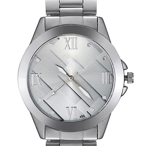 Relógio De Pulso Visor Geométrico Pulseira De Aço Ref.279/3
