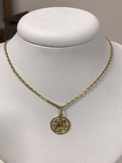 Corrente Em Ouro 18k C/pingente, 11,4 Gramas, 60 Cm