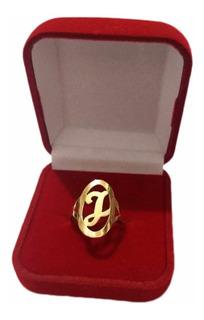 Anel De Letra Em Ouro 18k 750 Feminino Oval