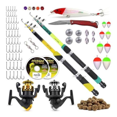 Kit De Pesca Completo 2 Varas Tel E 2 Molinetes + Acessórios