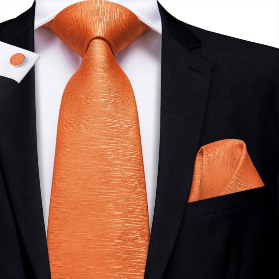 B3250 | Corbata Pañuelo Mancuernillas | Naranja Cristaleada