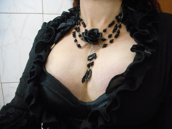 Colar Gótico Rosa Negra