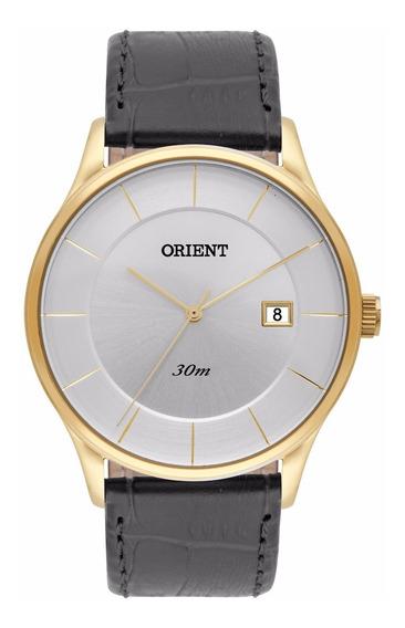 Relógio Orient Masculino Slim Mgsc1008 S1px Dourado Couro