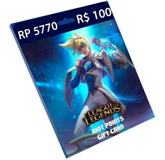 Cartão League Of Legends R$ 100 5.770 Riot Points Lol Rp Br