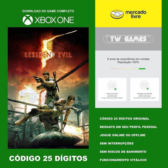 Resident Evil 5 Codigo 25 Digitos Xbox One Fat S X