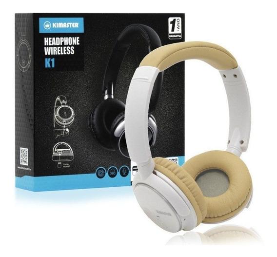 Fone De Ouvido Headphone Bluetooth Kimaster Branco E Bege