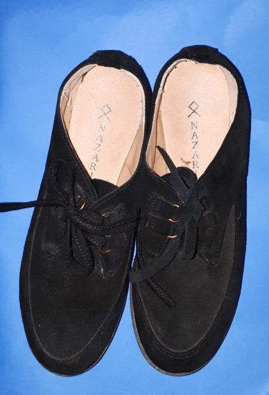 Zapatos De Gamuza De Mujer Nazaria. Color Negro Talle 38