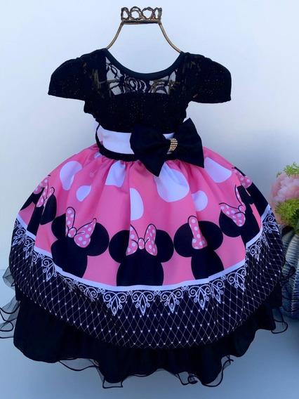 Vestido Minnie Rosa Com Laço