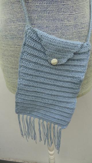 Carterita Bandolera De Crochet Celeste Con Flecos