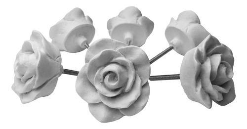 Puxador De Gaveta Flor Rosa Botão Branco Kit C/ 6 Unid 4 Cm