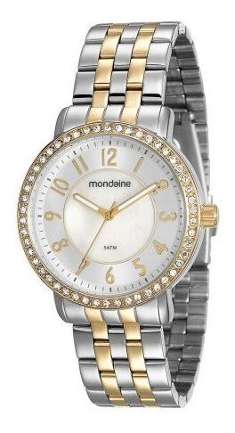 Relógio Fem. Mondaine Prata E Dourado 94808lpmvbe2 C/ Strass