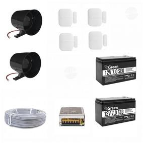 Sirene 120 Dbi Preta + Bateria Sensores Intelbras