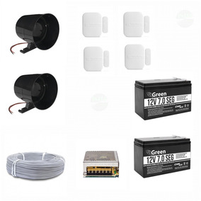 Kit Sirene 120 Dbi Preta + Bateria Sensores Intelbras