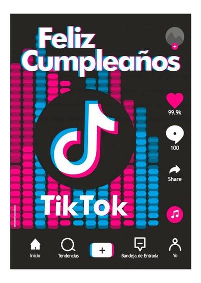 Póster Feliz Cumpleaños Temática Tik Tok - Ciudad Cotillón