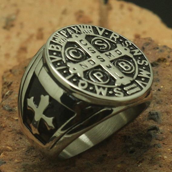 Anel Aço Inox 316l Maciço Sao Bento Medalha Jesus Lxbr A186