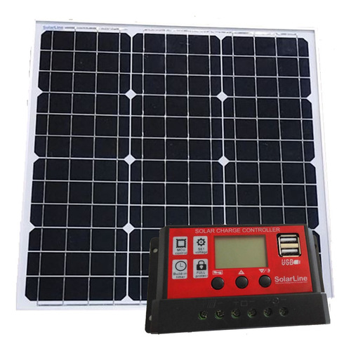 Panel Solar 40wp Fotovoltaico Solarline + Regulador 10a