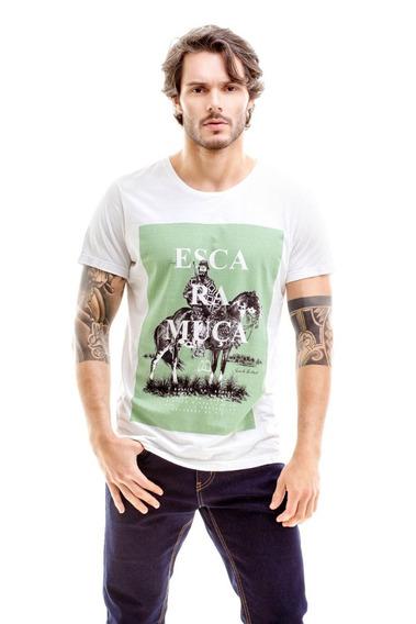 Camiseta Masculina Escaramuca Branca Com Verde