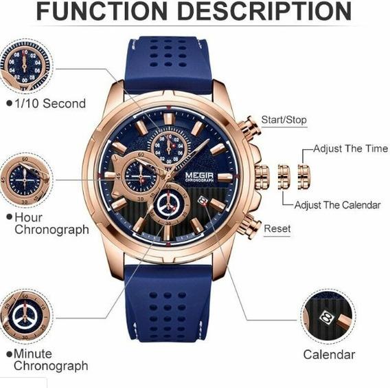 Relógio Masculino Luxo Megir 2101 Original Azul