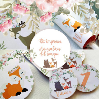 Kit Grafica Impresa Animalitos Del Bosque Candy Bar