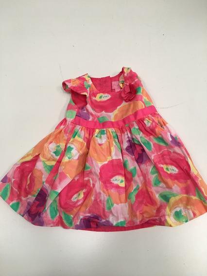 Vestido De Algodón Floreado Place 9/12 Meses Para Nena