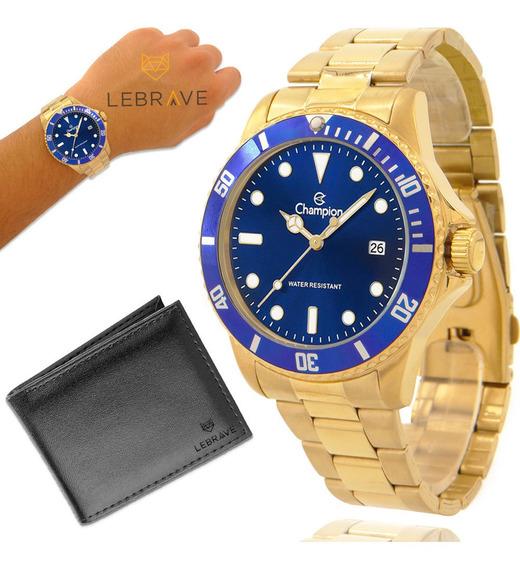 Relógio Masculino Dourado Champion Ouro Original + Carteira