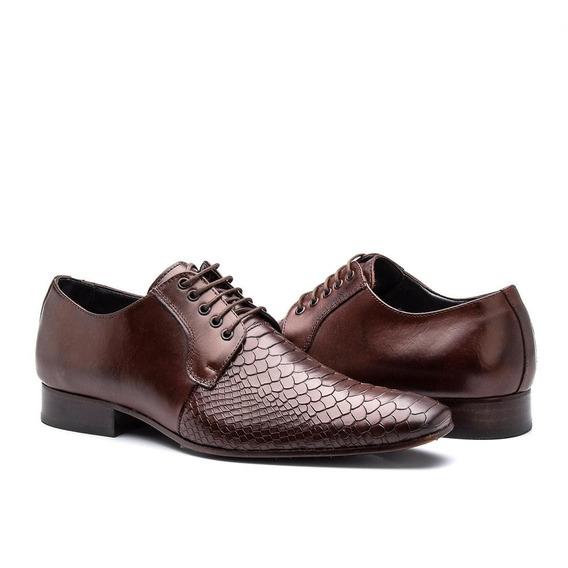 Sapato Social Masculino De Amarrar Em Couro Croco Bigioni
