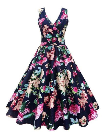 Vestido De Tallas Grandes Mezcla De Algodón Vintage Floral