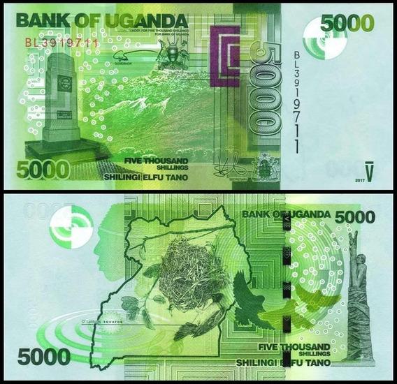 Aa#60 Billete 5000 Shillings Uganda 2015 Nido Hermoso
