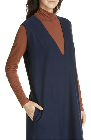Eileen Fisher Vestido Nuevo Importado C/etiqueta Azul Marino
