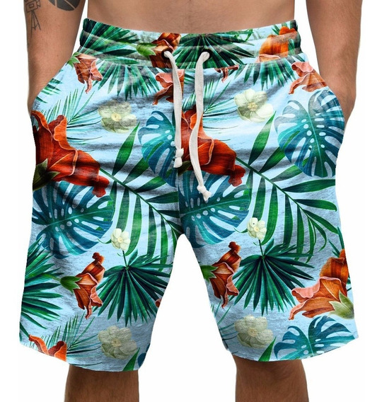 Bermuda Shorts Microfibra Flores Praia Hawai Hawaii Tropical