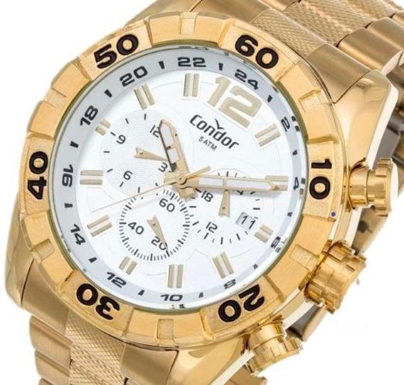 Relógio Condor Masculino Covd33aa/4k Aço Metal Dourado Branco Original C/ Garantia De 1 Ano