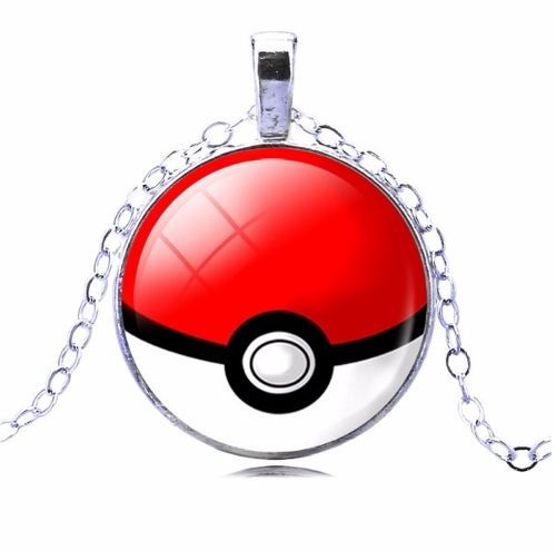 Colar Gargantilha Pokemon Pokebola Folheado A Prata