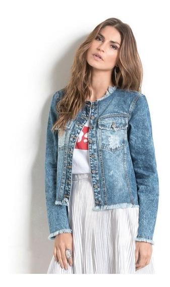 Jaqueta Jeans Com Desfiados