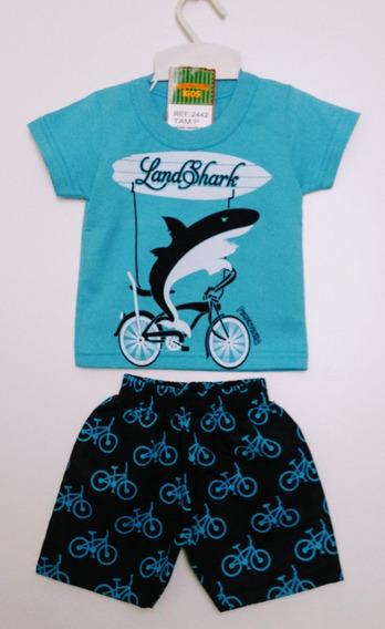 Conjunto Camiseta E Bermuda Tactel Bebê Pimentinha Tam P E M