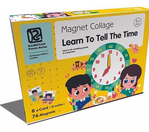 Las Horas Magnéticos Juego Didáctico Reloj Magnet Collage