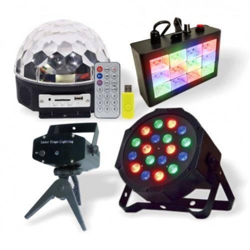 Kit Iluminação Dj Festas Strobo Projetor Laser Bola Maluca!!