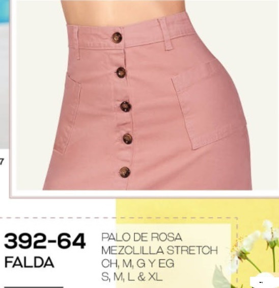 Falda Casual Dama Palo De Rosa 392-64 Cklass 1-20 J