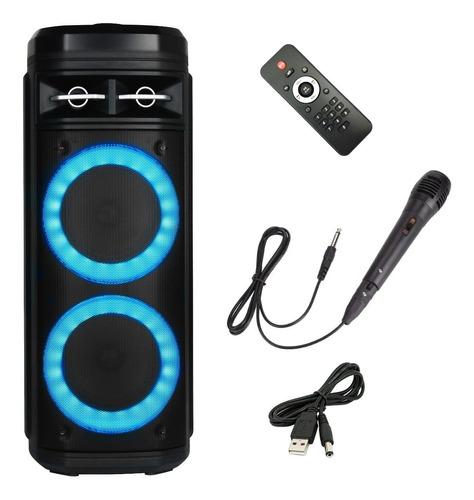 Imagen 1 de 5 de Bafle Recargable Bluetooth Doble Parlante 6 Pulgadas Potente Con Control Remoto Sd Usb Musica