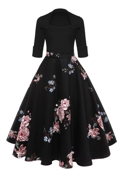 Vestido De Fiesta Vintage Estampado Floral Para Dama S-2xl
