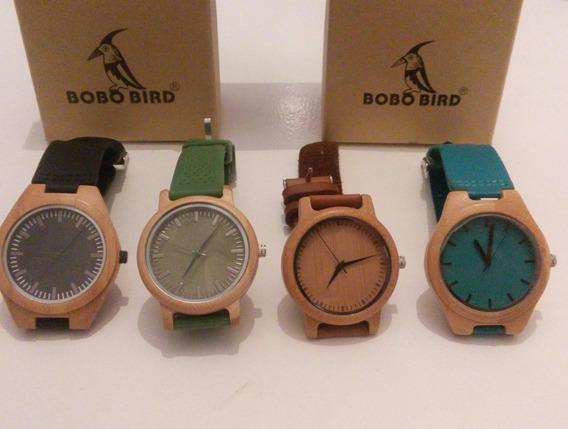 Relógio Madeira Bobo Bird Coleção Com 4 Peças
