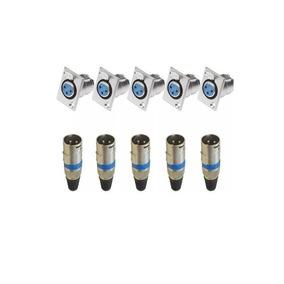 Kit 10 Plug Conector Xlr Cannon Macho/femea Painel