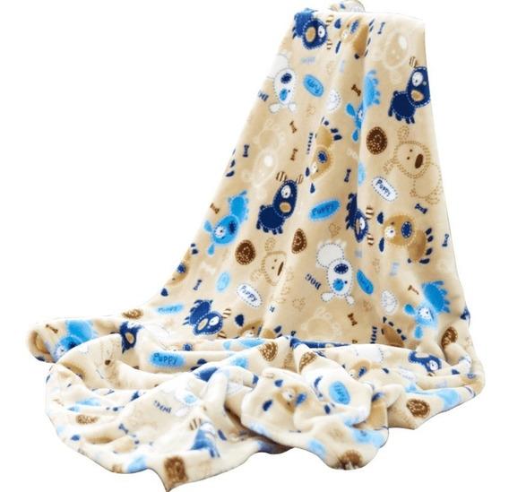 Cobertor Para Bebé Ligero Cuna Perros Niño Azul Vianney