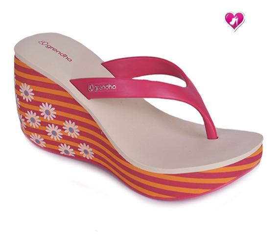 Zueco Ojota Tacona Floreada Grendha Brasil By Shoes Bayres
