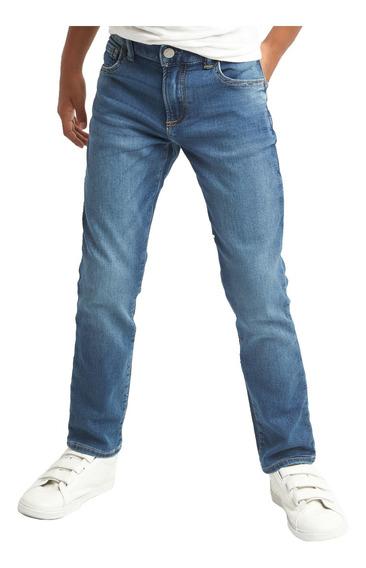 Jeans Niño Pantalón Mezclilla Cintura Ajustable Azul Gap
