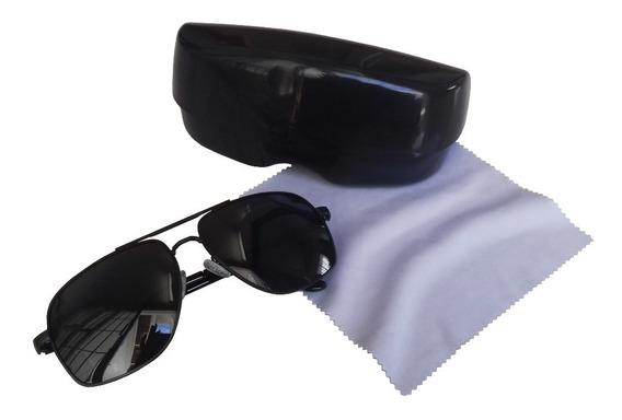 Óculos De Sol Unissex Preto Uv400 + Brinde Case