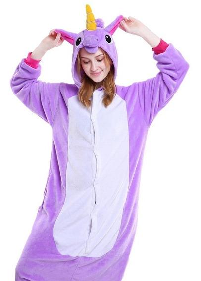 Piijama Mameluco Unicornio Disfraz Lila Azul Rosa Adulto