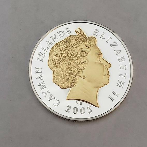 Linda Moeda De Prata E Ouro Ilhas Cayman 2003 Com 38,61 Mm
