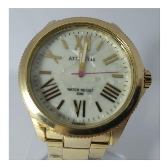 Relógio Atlantis Dourado Fundo Bege G3435